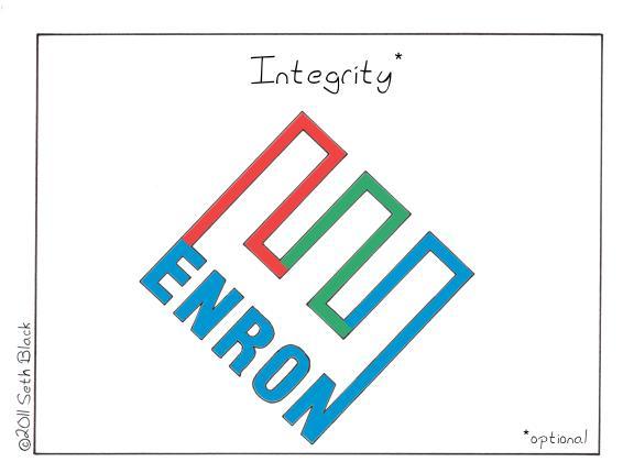 """The Enron logo. """"Integrity: optional"""""""