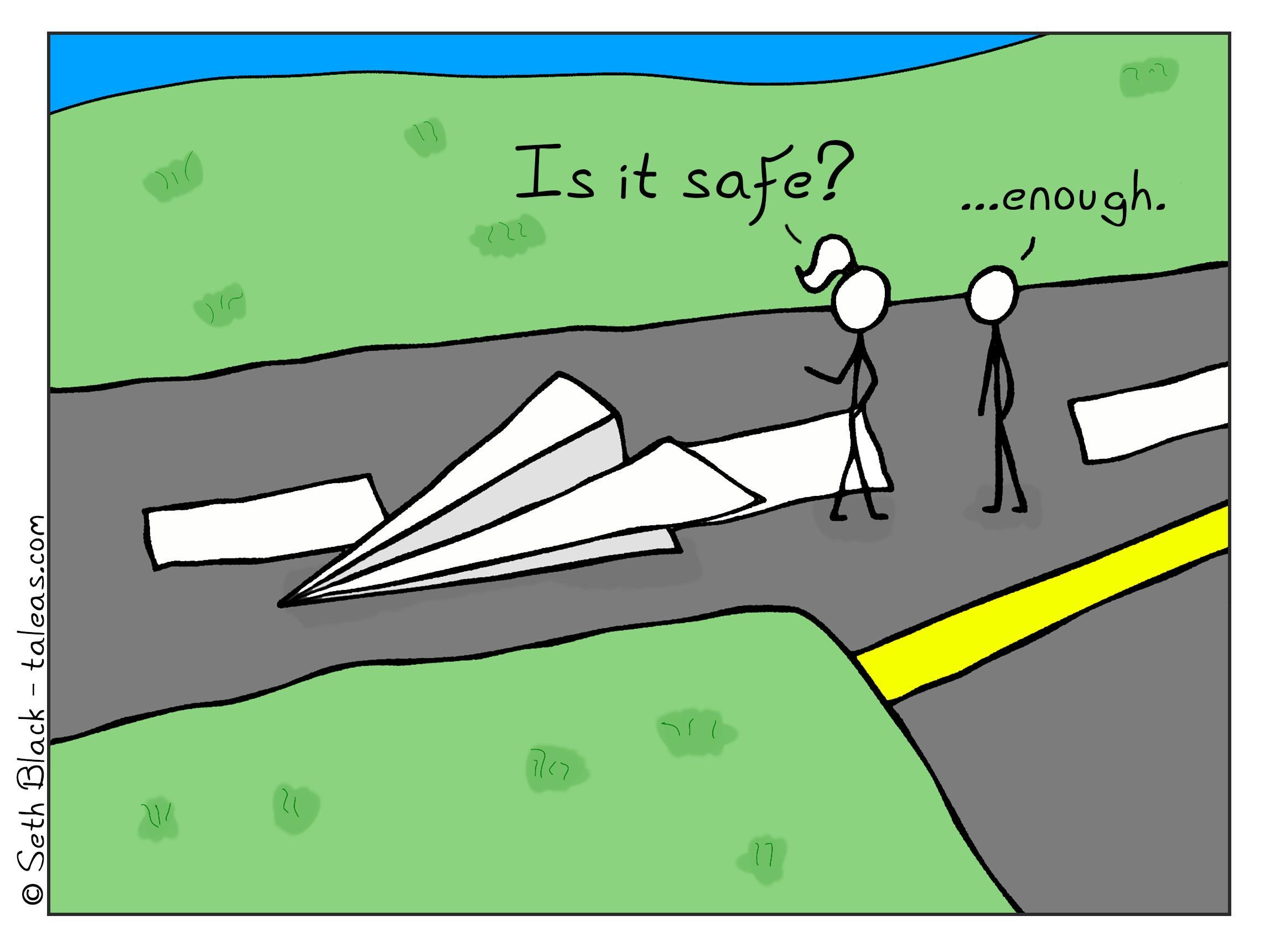 "A female passenger stick figure asks the pilot stick figure, ""Is it safe?"" to which a pilot wearing sunglasses responds, ""enough""."